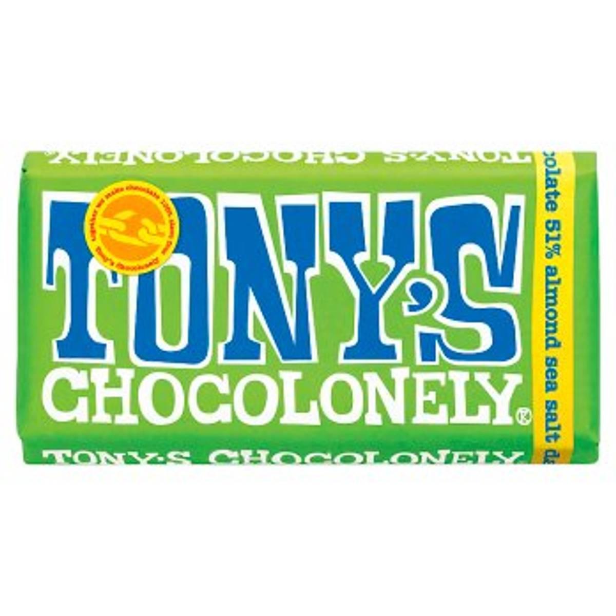 Mandel & havsalt mørk sjokolade 180g, Fair Trade / Tony