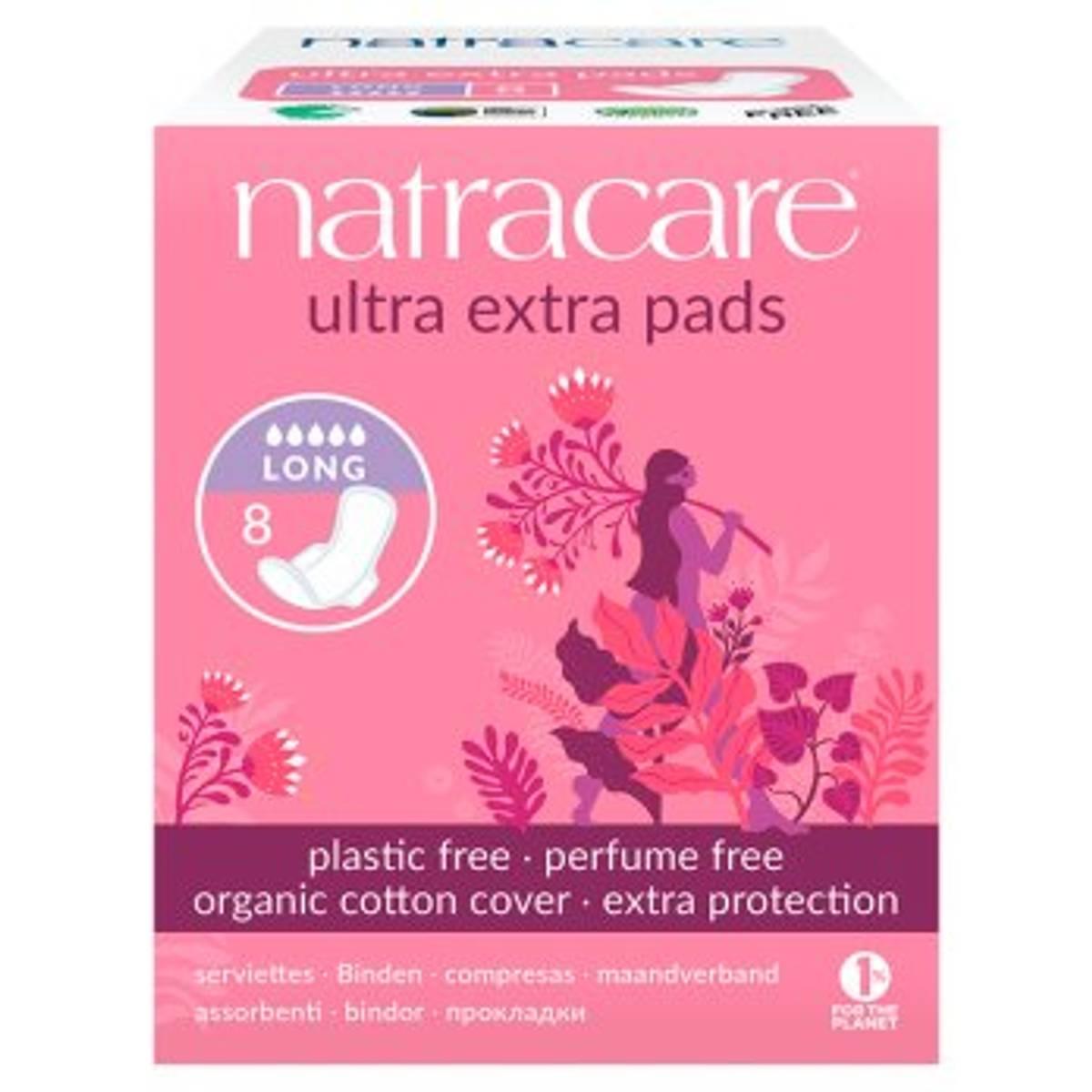 8 stk LANG ultra extra pads, økologiske bind / Natracare