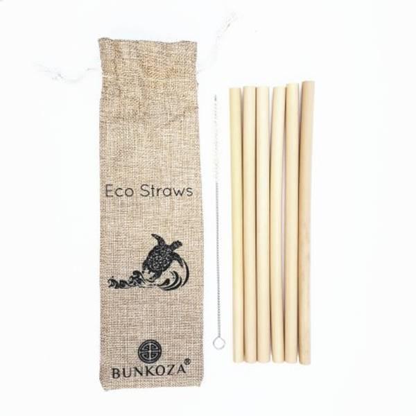 Bilde av 6-pk bambussugerør + ullbørste / Bunkoza.